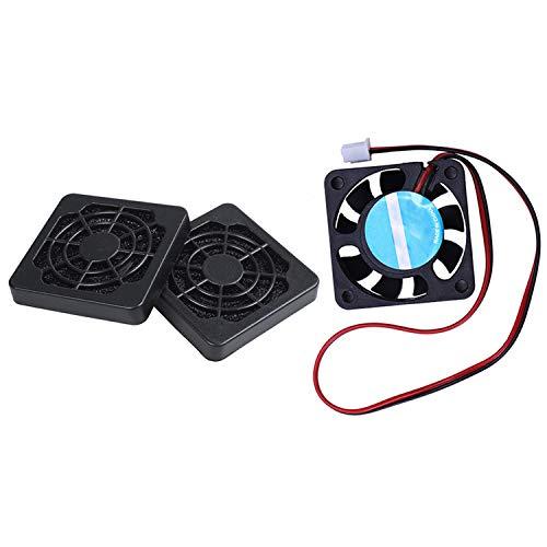SNOWINSPRING 2 Pcs Black Plastic Square Dustproof Filter 40Mm Pc Case Fan Mesh & 1 Pcs 3D Printer 24V Cooling Fan