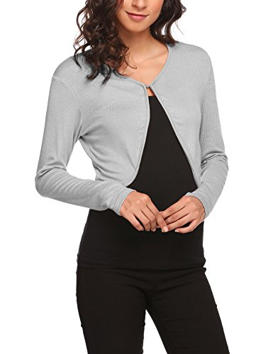 Hotouch Women's Long Sleeve Bolero Shrug Knit Cardigan Bolero Jackets Sweater Bolero Tops Shrug Grey S