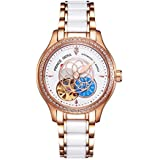 Prince GERA Women Luxury Gold Two-Tone Ceramic Watch for Ladies Waterproof Automatic Diamonds Dress Watch