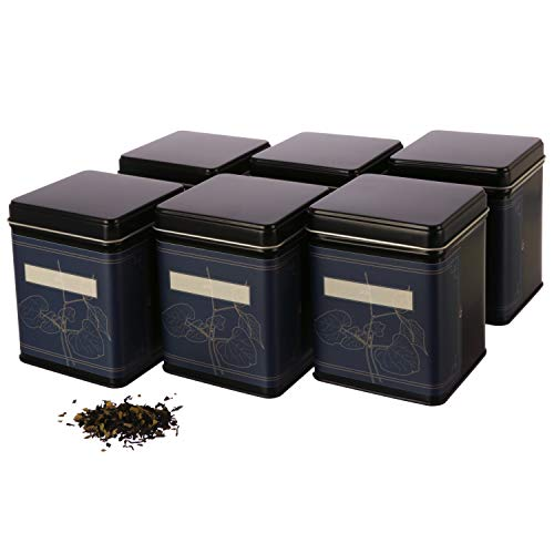 | 6 x Klassische eckige Teedose/Vorratsdose, stapelbar, inkl. 6 Etiketten zum beschriften | aromadicht aus Metall für je 180 g | 9.8 x 7.6 x 7.6 cm (H,B,T) | auch ideal als Mehl-, Reis- oder Keksdose