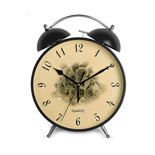 Wekker Twin Bell Silent Ontwerp 11 inch Digital Display Quartz retro-time klok Thuis Slaapkamer European Style Desk Clock Metal Stil Ontwerp (Color : Black, Size : 21.5 * 9 * 29cm)