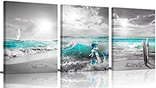 Bedroom Decor Bathroom Canvas Wall Art Beach Pictures Ocean decor Home Office Restroom Decorations Paintings House Clearan...