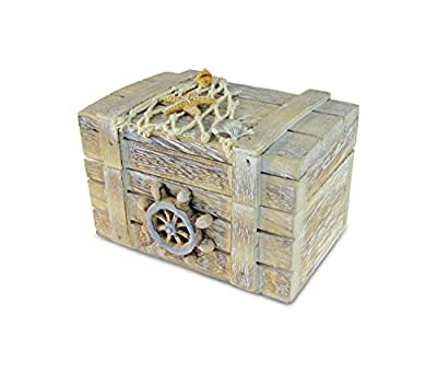 Puzzled Brown Wood Ship's Wheel Vintage Jewelry Box, 4.2 x 2.75 Inch Handcrafted Hinged Starfish Fish Decorations Keepsake Accessory Organizer Storage Trinket Gift Accent Tabletop Home & Kitchen Decor
