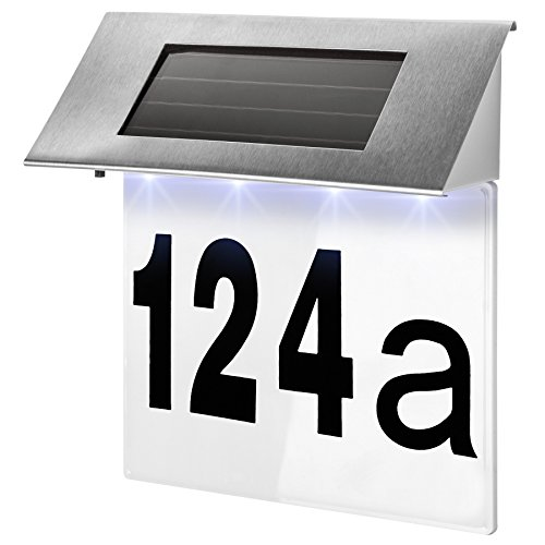 TecTake Solar Hausnummernleuchte Hausnummer LED Beleuchtung aus Edelstahl