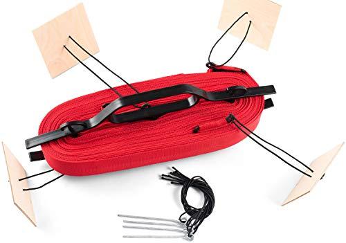 Kit Linee di Campo Beach Volley 16x8m x 4cm Allenamento Segnalettica Deliminatori di Beach-Volley (Rosso)