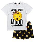 Pyjama, kurz, für Kinder, Jungen, Emoji, Smiley, Weiß/Schwarz, von 4 bis 12 Jahren (Alter 8 Jahre)