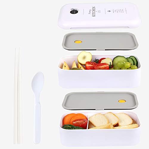 MEIXI Lunchbox, Bento Boxen, Brotdose, Auslaufsichere Lunch-Boxen Kinder und Erwachsene, Bento Lunch Boxen mit Besteck, mikrowellen und spülmaschinenfest Lebensmittelbehälter BPA-frei (Weiß)
