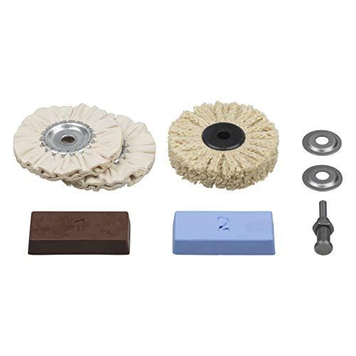 Wolfcraft 2179000 - Juego profesional de pulido para metales, plástico, marmol etc. contenido: pasta de pulido, mandril de sujeción, cepillo de sisal, disco de algodon