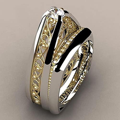 CXWK 2 unids/Set Anillos Huecos de Oro a la Moda para Hombres y Mujeres, Anillos de Amor para Parejas, Anillos de Boda de Lujo, joyería