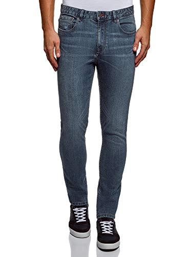 oodji Ultra Herren Jeans Basic in Used-Optik, Blau, 32W / 34L