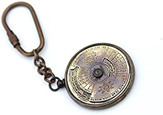 ROORKEE INSTRUMENTS (INDIA) A NAUTICAL REPRODUCTION HOUSE Collectible Solid Brass Calendar Key Chain 50 Years (2005 to 2054)