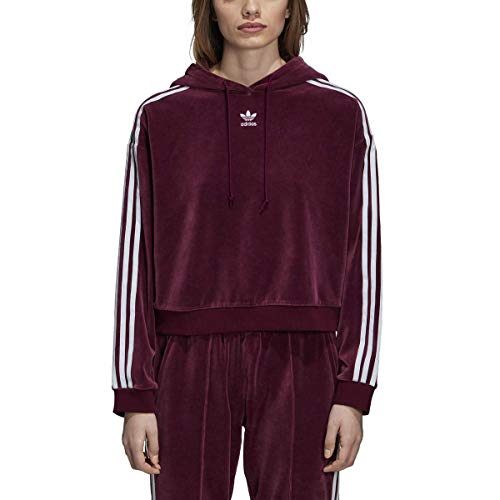 Adidas Women's Originals 3-Stripes Trefoil Cropped Hoodie (XL, Maroon)