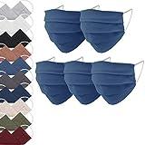 EllaTex 5er Pack Mund-Nasenschutz Masken/Atemschutz Maske Behelfsmaske Baumwolle WASCHBAR WIEDERVERWENDBAR in 10 Farben verfügbar, Farbe:Jeans