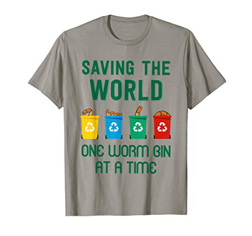 """""""One worm bin at a time"""" Funny worm composting T-shirt"""