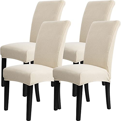 COOLBEBE 4 Pack Chair Cover for Dining Room – Premium Chair Slipcovers Stretch Removable Parsons Chair Covers Washable Jacquard Seat Protectors Set of 4, Perfect for Home/ Restaurant /Hotel Beige