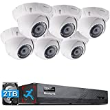 ONWOTE 8CH 4K PoE IP Security Camera System, Smart Human Detection, 8-Channel 4K 8MP NVR 2TB, (6) Outdoor Wide Angle 5MP Wired PoE IP Cameras, Record Video Audio, 8CH Synchro Playback