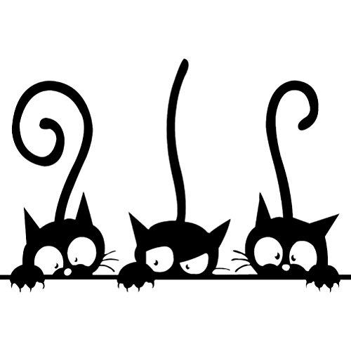 VORCOOL Tres Gatos Graciosos Animal Etiqueta de la Pared Hogar habitación PVC Etiquetas de la Ventana Mural DIY decoración extraíble Pegatinas de Pared decoración para el hogar (Negro)