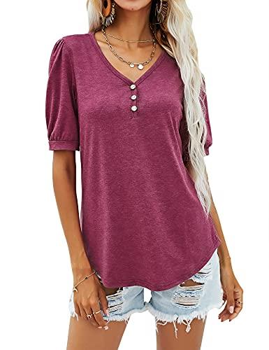 Rapbin Camisetas de manga corta con cuello en V y botones para mujer, túnica de verano