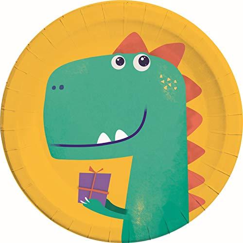 Procos 90246 - Partyteller Dinosaurier, 8 Stück, Durchmesser 23 cm, Pappteller, Teller, Einweggeschirr, Tischdekoration, Dino, Geburtstag, Party