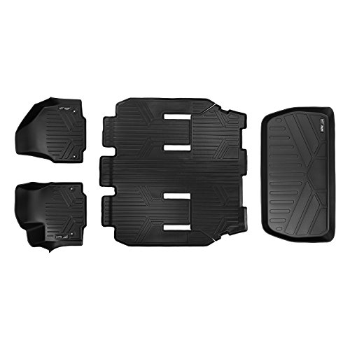 MAXLINER Floor Mats 3 Rows and Cargo Liner Behind 3rd Row Set Black for 2017-2018 Chrysler Pacifica 7 or 8 Passenger Model (No Hybrid Models)