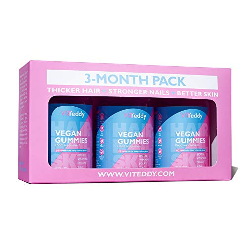 Viteddy Hair Gummy 3 envases - Biotina y Vitamina D vitaminas masticables vegetarianas para el crecimiento del cabello, fortalecen de las uñas y ayudan a dar brillo a su piel (Para 3 meses)