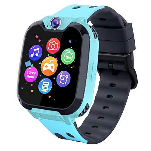 Kinder Smartwatch, Kind Uhr Telefon mit Zwei Wege Gespräch MP3 Kamera Rechner Rekorder und SOS Uhr für 3-15 Jahre alt Jungen Mädchen Geburtstags Geschenke (XX9 Spiel MP3-Blue)