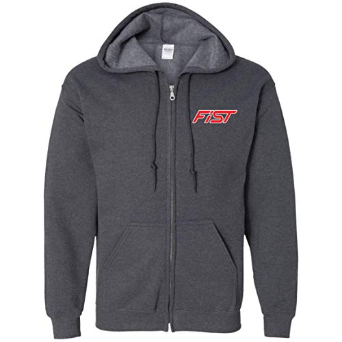 WheelSpinAddict Men's Fiesta ST Ecoboost 1.6 Zip Up Hooded Sweatshirt Dark Heather