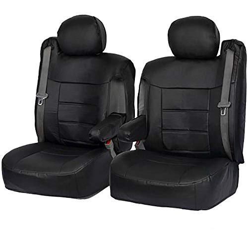 Semi Custom PU Leather Seat Covers w/Built-in Seat Belt Opening & Arm Rest for 2001-2006 Chevy Silverado,Chevy Tahoe, Chevy Suburban, GMC Yukon and GMC Sierra (Black Vinyl)