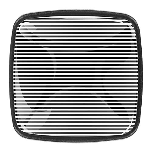 Tiradores de cajón de cristal de 1,18 pulgadas con rayas blancas y negras para cocina, para aparador, armario de cocina (juego de 4)
