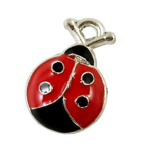 Charming Beads Lega dello Smalto Coccinella Ciondolo/Pendente Rosso/Nero 18mm Pacco di 10