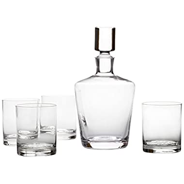 Mikasa 5117521 Donovan European Decanter and Double Old Fashioned Glass Set, 5-Piece, Clear