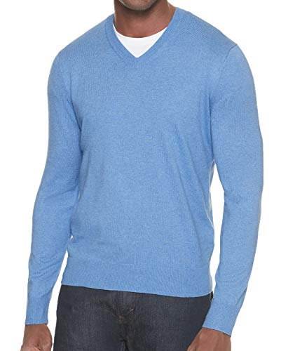 BANANA REPUBLIC Men's Premium V-Neck Sweater (Light Blue, L)