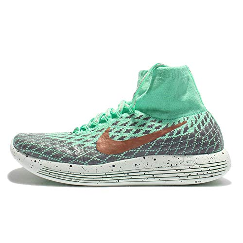 Nike Womens Lunarepic Flyknit Fabric Low Top Pull On Running, Green, Size 7.5