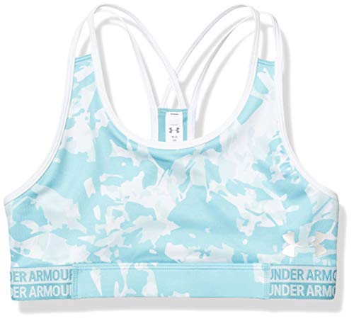 Under Armour Girls' HeatGear Armour Novelty Sports Bra , Blue Haze (425)/Rift Blue , Youth Large