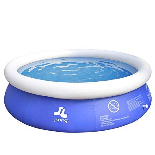 OKOUNOKO Fast Set Pool, Gartenpool selbstaufbauend mit aufblasbarem Luftring rund im Komplett Set, Inflator, gartendeko solardusche rechteckigDunkelblau rund, 180x73cm
