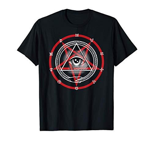 Pentagram with Occult Symbols, God Eye & Snake Eating Itself T-Shirt