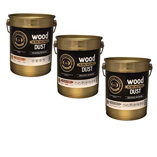Grillgold Räuchermehl-Set Nr. 1 mit Räuchermehl Wood Smoking Dust. 3 Metall-Eimer befüllt zu je 2 Liter Kirsche, Buche und Erle zum räuchen und kalträuchern