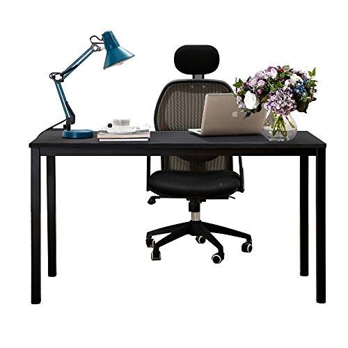 DlandHome Escritorios Mesa de Conferencia 138x55cm Mesa Multipropósito Mesa Salón/de Comedor/Mesa de Despacho Escritorio de Oficina,Negro