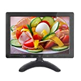10.1 inch HD CCTV Monitor Small LCD Monitors Screen with HDMI/VGA/AV Port for DVR/PC/DVD/Home Office Surveillance Secure System, Built-in Speaker