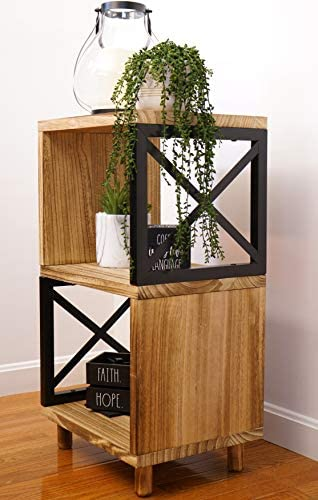 Premium Home Rustic Side Table Farmhouse End Table Bedside Table Wood Nightstand Tall End Table product image