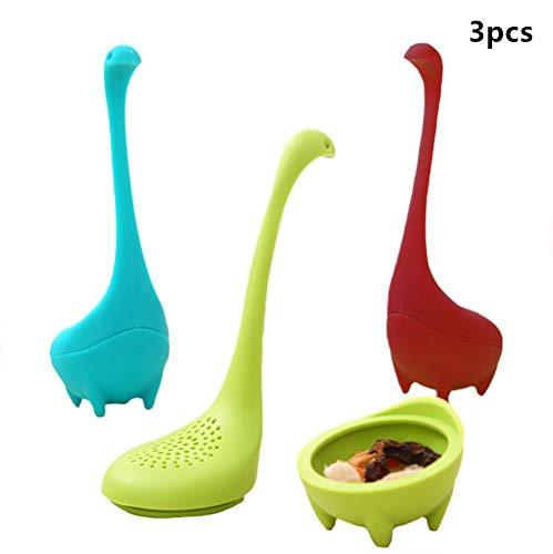EXQUILEG 3 Stück Nessie Teefilter,Silikon Tee Infuser mit Langem Griff und Sieb für Lose Blätter Tee, Kräuter usw
