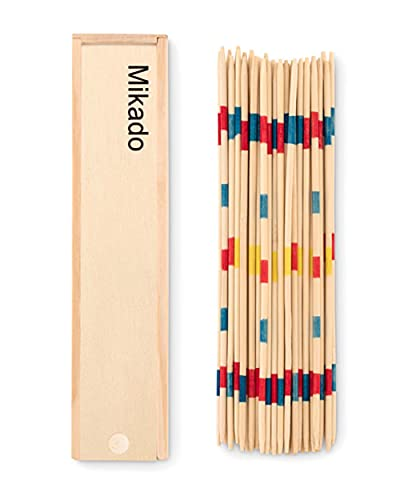 Gioco da Tavolo in Legno Shangai Mikado Prodotto Artigianalmente Multigiocatore di Strategia 41 Bastoncini di Diverso Colore con Scatola Richiudibile Divertente in Famiglia