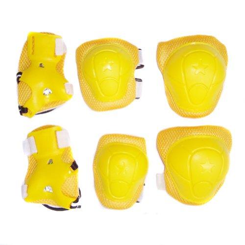 Lkinst Kinder Rollschuhe Schutz Balance Auto Roller Skating Schutzausrüstung 6-teilig, 1, Yellow with Star4, 1