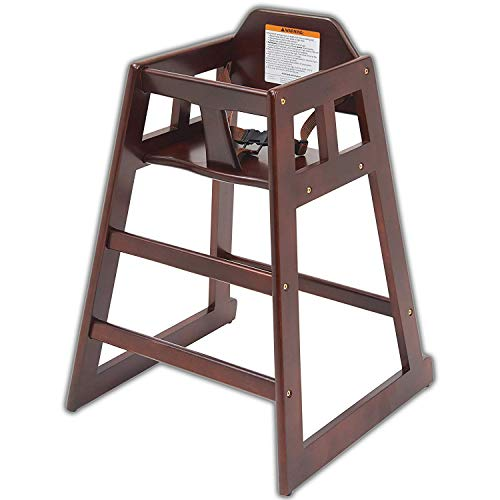Wooden high Chair for Babies, Infants and Toddlers + highchair Safety Straps, Complies with The New CPSC Laws, for Restaurant and Home use, Mahogany