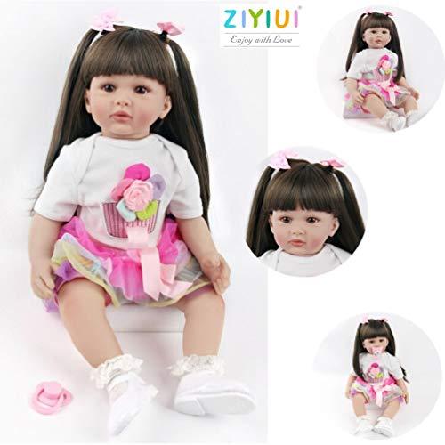 22 Zoll 55 cm Reborn Babypuppen Kleinkind Handgemacht Weiche Silikon Vinyl Realistische Reborn Baby Mädchen Dolls with Lange Haare Kind Geschenke Realistisch Spielzeug