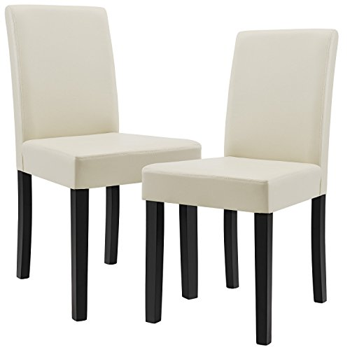 [en.casa] 2er Set Polsterstühle Creme mit Massivholzbeinen Stühle in Kunstlederbezug Esstischstuhl Hochlehner Küchenstuhl