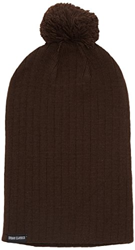 Urban Classics Unisex Ohrenschützer Wintermütze Bobble Beanie braun (Brown) One Size