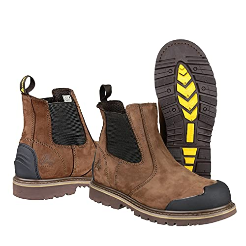 Chelsea Safety Dealer Boots Steel Toe Cap Leather All Weather Work Boot Brown (10)