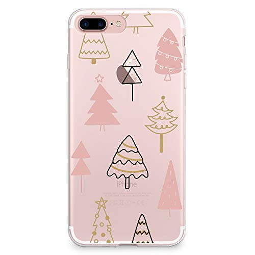 CasesByLorraine Funda para iPhone 7 Plus/iPhone 8 Plus, bonito árbol de Navidad, transparente, flexible, TPU suave, para Apple iPhone 7/8 Plus (A111)