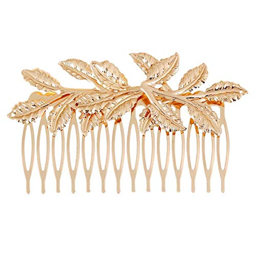 2 Pcs Feuilles D'or Métal Cheveux Peignes DIY Accessoires De Cheveux De Mariée Décoratif Mini Peignes Latéraux, 3,9 Pouces